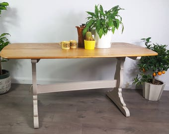 Ercol Table Refectory Vintage Retro 1950s 50s Elm Dining - Refinished