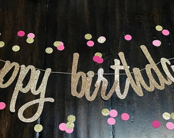 Happy Birthday Banner, Happy Birthday Sign, Glitter Birthday Banner, Gold Birthday Party,