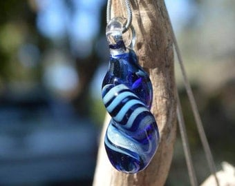 Hand Blown Glass Pendant - Silver Fumed Twisted Drop Necklace Charm