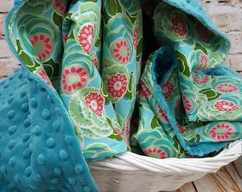 Cotton Minky Baby Blanket Amy Butler Dream Weaver Print Teal Blue