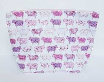 Pastel Sheep Project Bag, Knitting Bag, Crochet bag, Zipper Pouch, Makeup Bag, Cotton Bag, Toiletry Bag, Art Supply bag,