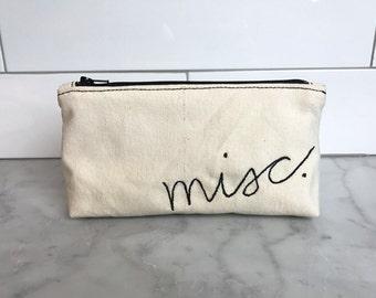 canvas 'misc.' zipper pouch / zip bag / accessory bag / makeup bag / purse organizer / embroidered pouch / gadget bag / junk bag