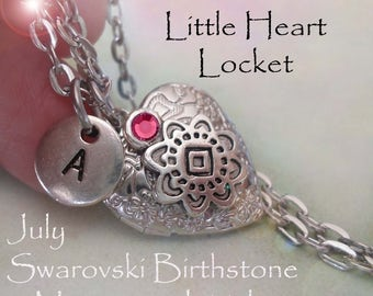 Little Heart Locket July Birthday Personalized with Swarovski Birthstone and Letter Charm, July Birthday Gift, July Birthstone Locket