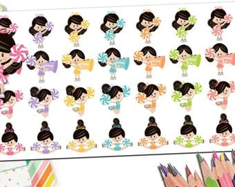 Cheer Cheerleading Cheerleader Stickers | Cheerleading Gifts Cheer Gifts Cheer Mom Coach Gift | Custom Girl Pom Pom Megaphone Fits ECLP More