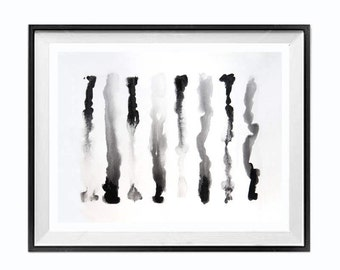 Black and White, Abstract Painting, Drip Art , Modern, Minimalist Painting, Black White Wall art, ZippartCo, 22x16 in