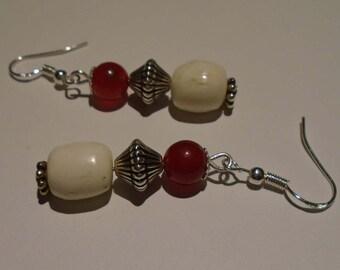 Red, Silver & Bone Earrings