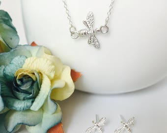 Silver Bee Jewellery Set, Bee Necklace, Bee Earrings, Tiny Silver Studs, Silver Layering Necklace, Silver Bee Charm, Nature Jewelry Gift