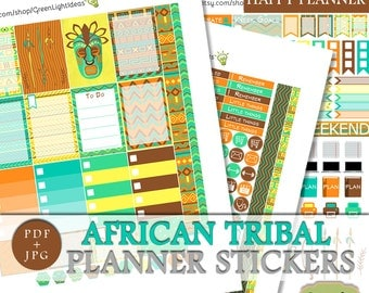 African Tribal Happy Planner Sticker Kit, Printable Fall Happy Planner Weekly Kit, Planner Sticker Functional Printable Sticker Kit Mambi