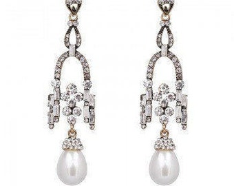 Stunning Statement Crystal & Pearl Drop Chandelier Earrings