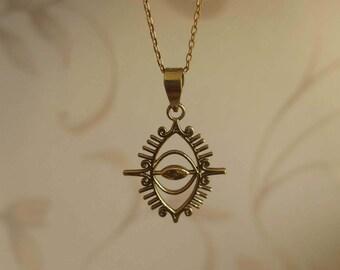 Brass Necklace Minimalist Necklace Fine Brass Simple Necklace Brass Pendant Evil Eye Necklace Raw Brass Necklace Necklace For Her Gold Color