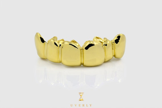 18k Solid Yellow White Rose Gold Custom Plane Grillz Uverly Jewelry