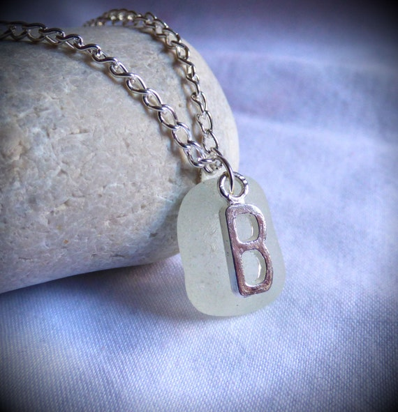 B Necklace, Seaglass Pendant, Initial Necklace, Sea Glass jewelry, B Pendant, Silver B, B Jewellery, Letter Jewelry, Beachglass - PC17001