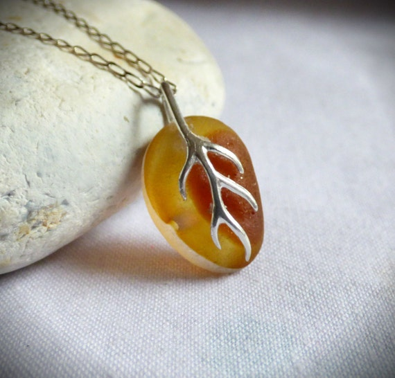 Amber Seaglass Pendant, Sea Glass Necklace, Rare Piece, Sterling Silver, Vine Bail, Beach Find, Classic Style, Beachglass Necklace - PJ17007