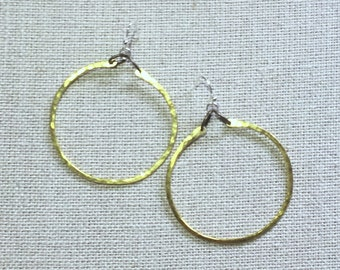 OLIVE and GREEN Hoop Circle Hammered Gold Tone Metal Handmade Simple Geometric Modern Hanging Earrings Unique Boho Hand-made OLIVEandGREEN