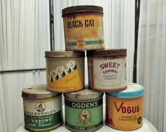 lot of 6 vintage tobacco tins in fair to poor condition