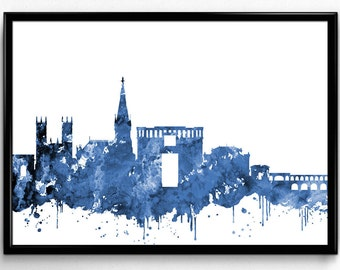 Montpellier Skyline, Travel, City Skyline, Home Decoration, Watercolor, French City Poster,  Room Decor, gift, Print, Wall Art (849)
