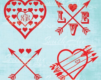 Valentine's Day Bundle, Heart Arrows Cross, Heart Monogram, Love Arrows, SVG File, Quote Cut File, Silhouette or Cricut File, Vinyl Cut File