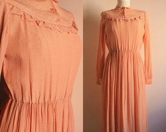 1940s Vintage Dress - Rose Pink Dress - Crepe Silk Dress - WW2 Wartime - Victory Tea Dress-1940s Clothing