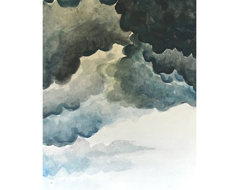 """Blue Clouds, Clouds and Sky Original Watercolor Painting 9"""" x 12"""""""