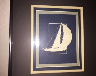 Retro Coastal wall art framed (3 pictures) Seagull, Sailboat and Bird (Purchased at Santa Barbara art walk in 1970's/1980's)