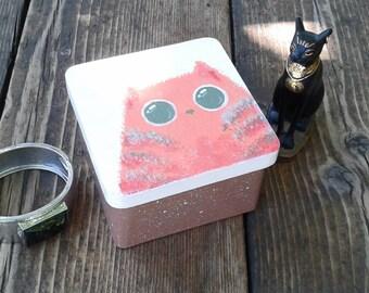 Handpainted Cat box, Wooden Cat box, Red Cat box, Decorated  box, Cat Lover box, Cat lover gift, Keepsake box,Jewelry cat box, Red cat gift