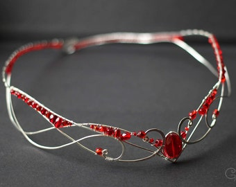 Silver elven tiara Wedding circlet Fairy crown Lord of the rings Larp Tiaras Lotr cosplay Elven headpiece Red crystal Love Hair jewelry