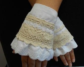 Victorian gloves, Fingerless gloves, Regency gloves, Lace gloves, Tea gloves, Bridal cuffs, Lace wedding cuffs
