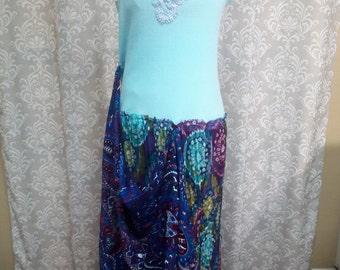 Gypsy Dress, Boho Hippie Dress, Blue Hippie Dress, Eco Dress, Upcycled Hippie Dress, Festival dress