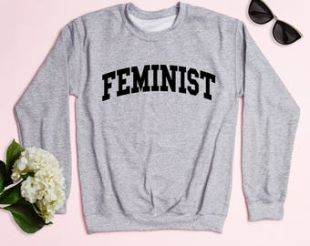 Free Shipping! Feminist Crewneck Sweatshirt, Women's Sweatshirt, Gym Sweatshirt, Workout Sweatshirt, The Future Is Female