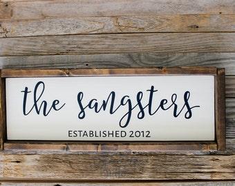 Custom Last Name Sign| Wedding Gift| Housewarming Gift| Painted Wood Sign| Custom Wood Sign| Rustic Home Decor| Farmhouse Decor