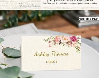 Place Card Template, Printable Place Card, Seating Cards, Table Numbers, Place Cards, Fits to #A009, Editable PDF-you personalize at home.