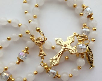 White Quartzite Rosary, Gold Chalice Rosary, Gold Cross Rosary, Holy Spirit Rosary, Communion Rosary, Confirmation Rosary, Catholic Rosary