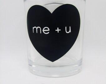 Valentine's Day Me + U Heart Tea-light Candle Holder