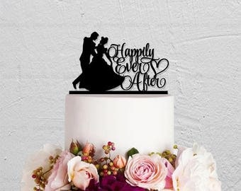 Wedding Cake Topper,Happily Ever After Topper,Cinderella Cake Topper,Custom Cake Topper,Princess and Prince Cake Topper,Disney Cake Topper