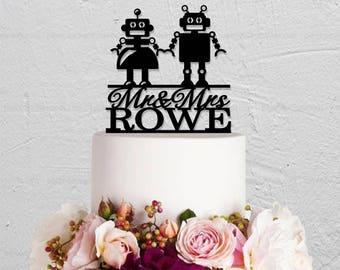 Wedding Cake Topper,Robot Couple Cake Topper,Last Name Cake Topper, Funny Cake Topper,Custom Cake Topper,Mr And Mrs Cake Topper