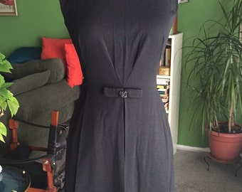 60's Black Wool Luisa Spagnoli Wiggle Dress