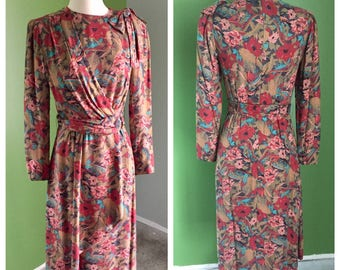 80's Does 40's Utah Tailoring Mills Wool Blend Knit Floral Dress