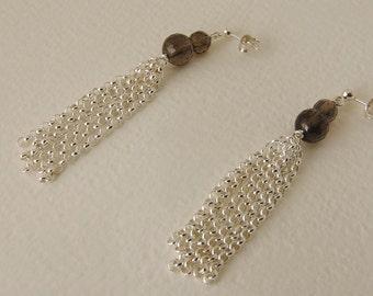 Smoky quartz earrings and Silver 925%