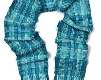 Plaid Scarf - Wool Scarf - Womens Scarf - Turquoise Scarf - Winter Scarf - Warm Scarf - Hand Made Scarf - Soft Scarf - Ladies Scarves Scarf