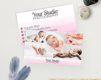 Photography Business Card Template, Photography Marketing, Pink Watercolor Ombre, Photoshop Template, Instant Download
