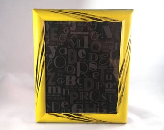 Yellow and Black Upcycled Picture Frame; 8x10 Picture Frame; Yellow with Black Glaze