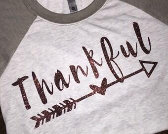 Women's Thankful Shirt, Thanksgiving Shirt, Grateful Thankful Blessed, Motivational Shirt, Inspirational Shirt, Mom Life Shirt, Christmas