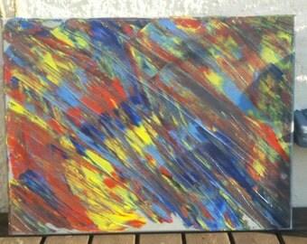 Picture on canvas. Rainbow on a cloudy day / Bild auf Leinwand. Regenbogen an einem grauen Tag