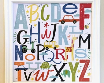 Boy's ABC Room Decor, Framed ABCs, Boy's ABC Wall Hanging