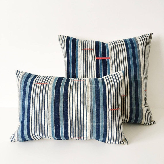18 x 12 Indigo Striped Pillow With Embroidery