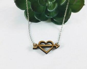 Cupid's Arrow Wood Necklace | Arrow through heart necklace | Laser Cut Bamboo Necklace | Heart Necklace
