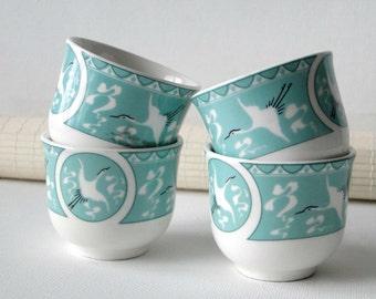 Set of Four, Japanese, Sake Cups, Set, Stork, Sake Set