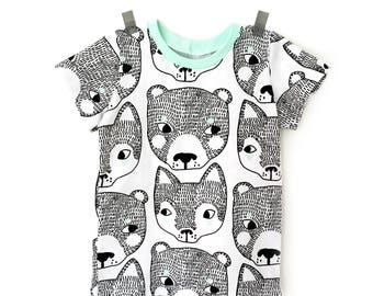 Bears and Fox T shirt, kids cute t-shirt in black and white, modern toddler hipster shirt - 0 to 6 T