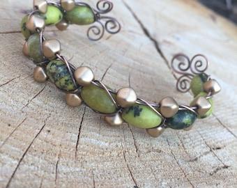 Serpentine & Gold Bead Cuff