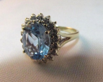 10K Gold Ring 4Ct. Blue Topaz & Diamonds- Size 5.5  #913